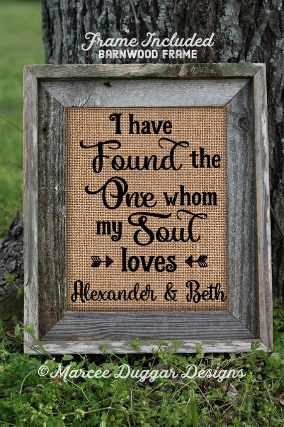 Framed Couples Gift | Burlap Print | Wedding Gifts Personalized | Burlap Print | Love Dating Wedding | Anniversary Gift| Soul Mate | 263