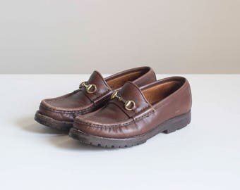 Brown Leather Gucci Loafers with Classic Gold Horsebit 1980s Vintage // Size 5 1/2