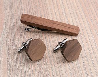 Wooden tie Clip Cufflinks Set Wedding Walnut Hexagon Cufflinks. Wood Tie Clip Cufflinks Set. Mens Wood Cuff Links, Groomsmen Cufflinks set.
