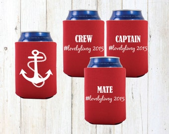 Nautical bachelorette party can cooler.Bachelorette can cooler.Bachelorette party favors.beer can cooler.Bridesmaid gifts