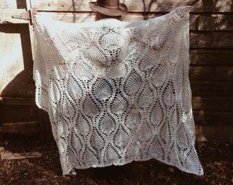 Vintage Handmade Crochet Cream Afghan Blanket
