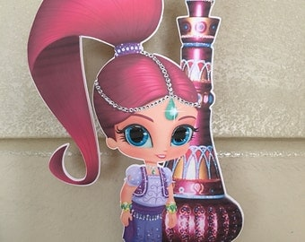 Shimmer and shine centerpiece shimmer with genie bottle, birthday, party, events, table decorations, party decorations