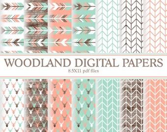 Instant Download Girl Deer Woodland Digital papers ( PDWSI205 )
