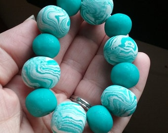 Sky Blue Polymer Clay Beaded Bracelet