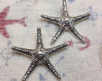 10pcs Antique Silver Starfish Charms Pendants 38mmx38mm