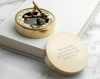 Personalised Adventurer's Brass Sundial and Compass - Engraved - Father's Day - Gift For Groom - Hike - Personalized - FREE UK DELIVERY