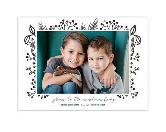 Classic Holiday Card // Photo Christmas Cards // Christian Religious Christmas Card // Printable Family Photo Holiday Cards // The Henrys