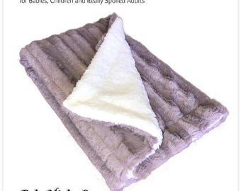 Worlds Softest Minky Cuddle Fur Blanket - Reversible Soft Rose Stripe Minky With Off White FleeceMinky Cuddle Fur All Sizes and Colors