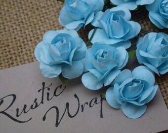 12 Blue coloured Mulberry Paper Tea Rose Flower 20mm,
