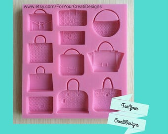 Fashion Handags Purses silicone mold 11 designs for resin, chocolate, fondant, clays