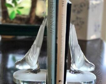 Lalique Deux Hirondelles (Two Swallows) Hirondelle Bookends