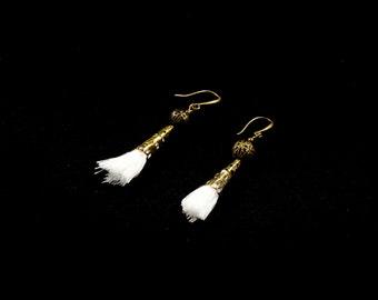 Earrings white Pompom or grey cone-mounted bronze antique 20mm