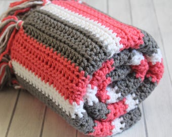 Coral Gray and White Crochet Baby Blanket - Photo Prop - Crochet Basket Filler - Baby Shower Gift