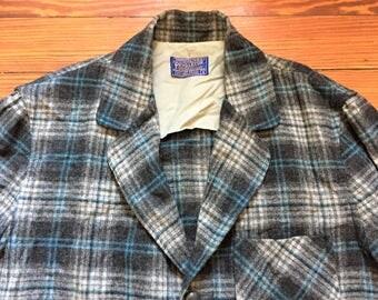 Vintage 50s Pendleton Gray Blue Plaid 49er Jacket Small