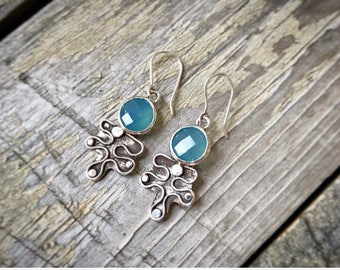 Chalcedony earrings, blue earrings, leaf earrings, maple leaf earrings, dangle earrings, blue chalcedony and sterling silver earrings