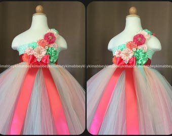 Flower girl tutu dress in coral,mint and peach
