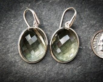 Prasiolite Dangle Earrings, Green Amethyst, Stunning Green Quartz Checkerboard Prasiolite earrings - Green Quartz - Green Amethyst Dangles
