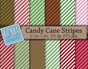 Candy Cane Stripe Holiday Christmas Digital Background Downloadable Scrapbook Printable Paper Textures for Personal Use