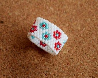Handmade item.Beaded ring.Peyote Ring.Delica Beads.Mariella's Code.