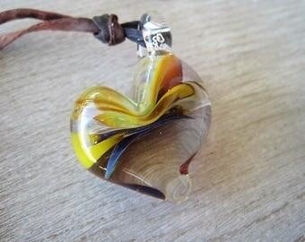 Heart Lampwork Glass Boro Pendant Purple Amber Swirl with silk cord