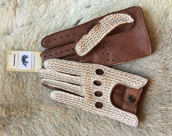 Crochet Peccary Driving Leather gloves for Women's Luxury Car Driving Gloves