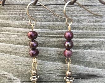 Petite Purple Pearl, Long Dangle Earrings 013E