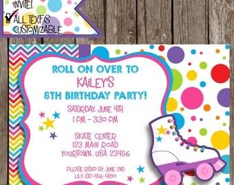 Roller Skating Invitation, Roller Skating Party, Skating party Invitations, Roller Skating party invitations, #SP1