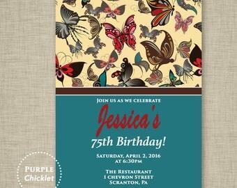 Teal Butterfly Invitation Garden Party Invite Birthday invitation Spring Invite DIY 5x7 JPEG 326
