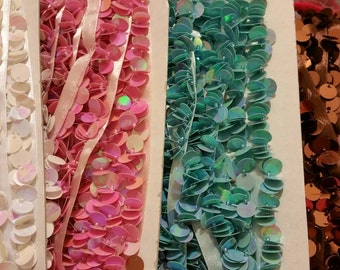 1 yard trim sequin, choose; blue, pink, creamy white, brown embellishment for your next project.