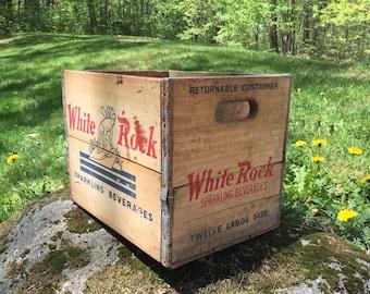 Vintage WHITE ROCK Sparkling Beverage Rustic Wood Box Crate W/Metal Sides LOOK!