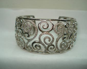 Sterling Silver Fancy Designer Cuff Bracelet