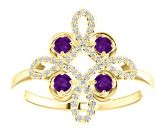 Amethyst Diamond Unique Engagement Ring, Floral, Conflict Free, 14K, 18K, Platinum