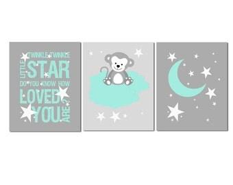 Aqua and grey stars Nursery Art Print Set, Baby boy Room Decor, monkey, night, moon, stars, twinkle twinkle little star - UNFRAMED