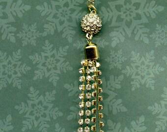 JEWELRY- PENDANT- RHINESTONES, fine gold chain, 18 inches, rhinestone dangles, for her, Valentine's day,