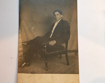 Vintage 1920s Photograph Postcard of Exotic Looking Man