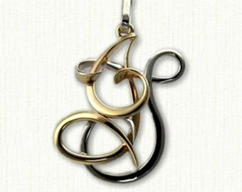 "Custom 'JT' Initial Monogram Pendant- 1"" in size- Available In All Metals"