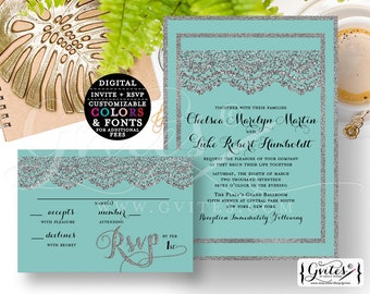 """Silver and Turquoise Blue wedding invitation, printable customizable, modern invites, lace glitter {Invite 5x7"""" RSVP 5x3.5""""}"""