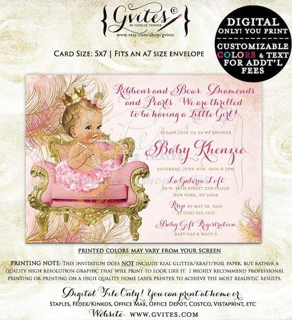 Blush pink and gold royal princess baby shower invitations, vintage baby girl invitation, printable, diamonds and pearls, royal princess