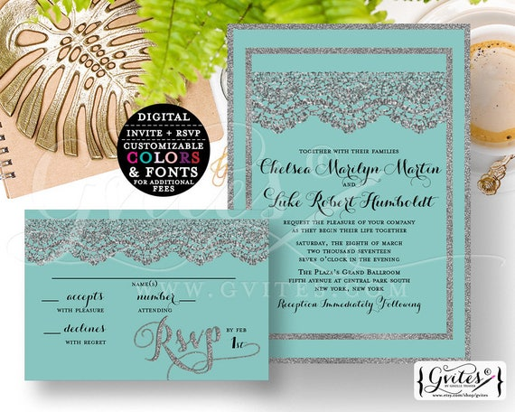 """Silver & Turquoise Blue wedding invitation and response card, printable customizable, modern invites, lace glitter {Invite 5x7"""" RSVP 5x3.5""""}"""
