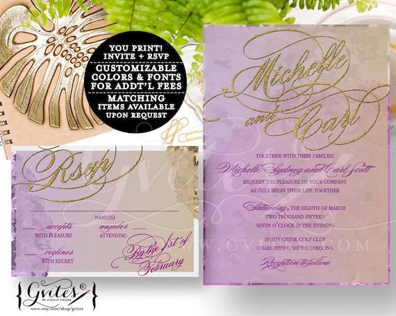 Purple gold lavender wedding invitation, ombre wedding printable invites, gold glitter custom design, digital file, invite + response.