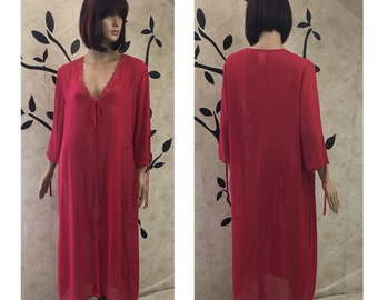 Red robe, See through lingerie, Lasy housecoat, Sexy houes coat, Red housecoat, Vintage bath robe, Size medium house coat