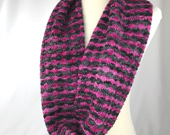 Cowl // neckwarmer // Merino wool // hot pink // charcoal // pink // pink and black // handknit // double cowl // neckwarmer // thick cowl