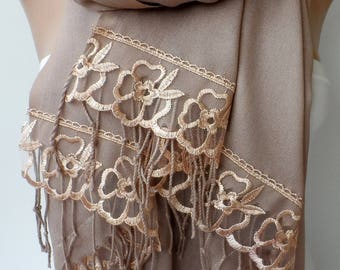 Wedding Shawls Light Brown Pashmina with French Lace Skin-Friendly Bridesmaid shawls Dainty Party Lightweight Soft