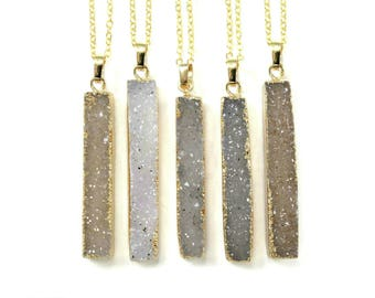 Druzy Necklace, Modern Minimal Necklace, Crystal Pendant, Bar Necklace, Raw Stone Pendant, 21st Birthday Gift For Her, 30th Birthday Gift