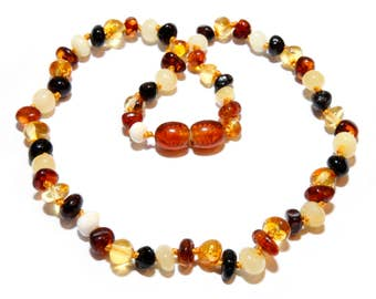 Genuine Baltic Amber Baby Teething Necklace Mixed Beads 30 - 32 cm