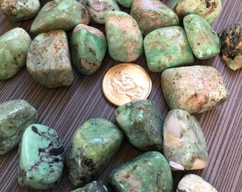 One (1) Medium Tumbled Variscite Stone from lot Soothing!