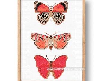 Butterflies - Modern cross stitch pattern PDF - Instant download - Summer