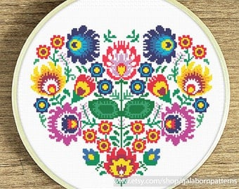 Floral heart cross stitch, Modern cross stitch pattern, Instant download, Gift idea, Floral heart