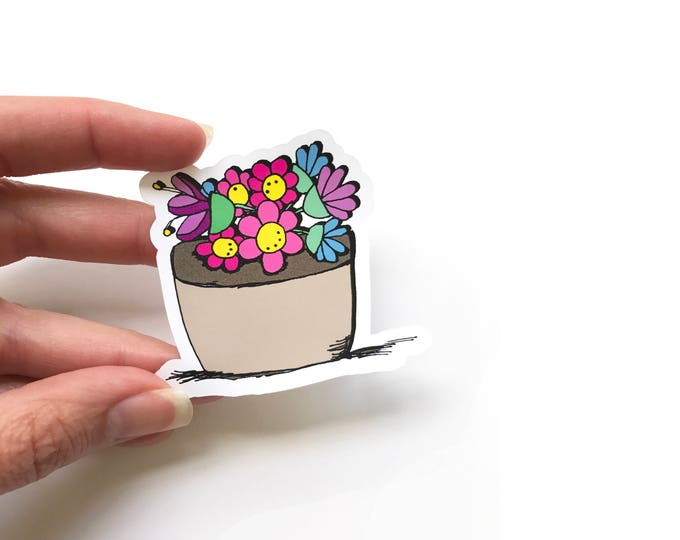 Flower Stickers - Envelope Stickers - Package Stickers - Snail Mail Stickers - Set of 6 Stickers