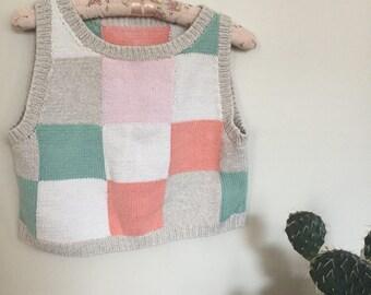 Pastel Block Crop Sweater Tank